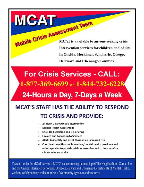 MCAT - Mobile Crisis Assesment Team Flyer